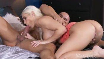 Skinny ebony gal gets finger fucked by horny white guys